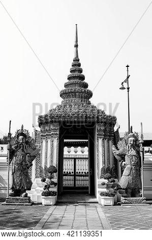 Gate Of Wat Phrachetuphon Wimonmangkhalaram Public Temple From Bangkok On Black And White Tone.