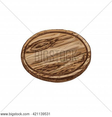 Wood Circle Cutting Board. Vintage Hatching Vector Color Illustration. Isolated On White Background.