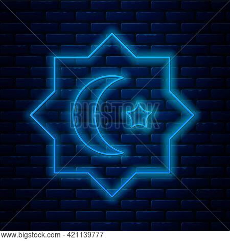 Glowing Neon Line Islamic Octagonal Star Ornament Icon Isolated On Brick Wall Background. Vector