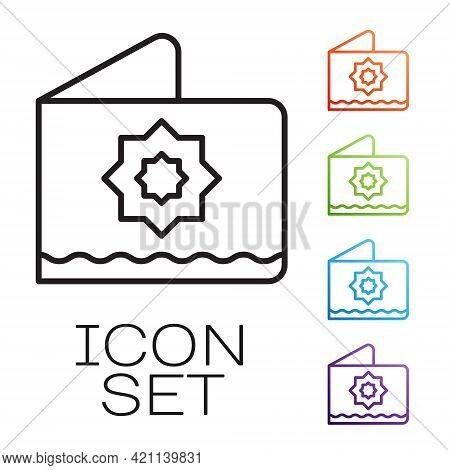 Black Line Islamic Octagonal Star Ornament Icon Isolated On White Background. Set Icons Colorful. Ve