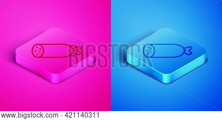 Isometric Line Salami Sausage Icon Isolated On Pink And Blue Background. Meat Delicatessen Product.