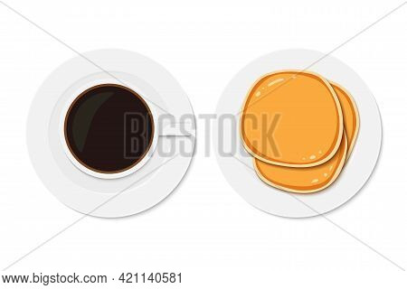 Coffee With Pancakes. Breakfast Snacks. Vector Illustration Isolated On White Background. Happy Panc