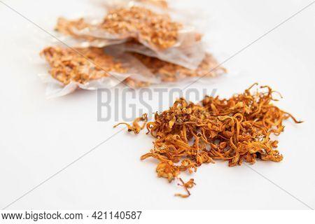 Dry Cordyceps. Dry Fresh Cordyceps. Militaris Mushroom. Militaris Mushroom In Hand. Using Cordycepin