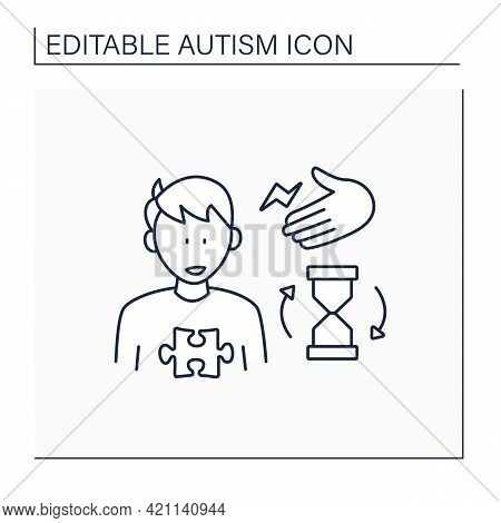 Neurodevelopmental Disorder Line Icon. Repetitive Movements. Imitate Gestures, Poses, Facial Express