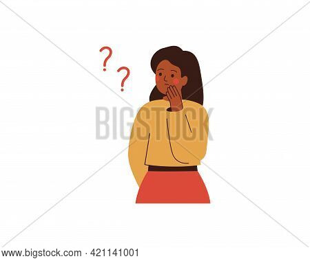 Black Woman Thinks About Something And Looks At Question Marks. Thoughtful African Girl Makes The De