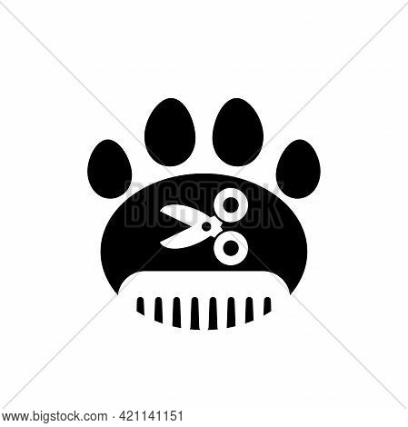 Pet Grooming. Comb And Scissor And Paw Trail. Animal Haircut, Combing And Grooming Pets. Salon Logo.