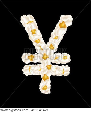 The Yuan Sign Made Up Of Airy Popcorn. Vector Illustration.