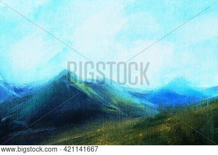 Abstract Impressionism. Landscape. Mountain Landscape.  Hand-drawn Illustration.