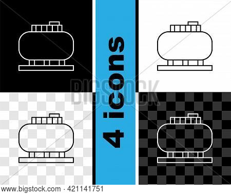 Set Line Oil Tank Storage Icon Isolated On Black And White, Transparent Background. Vessel Tank For