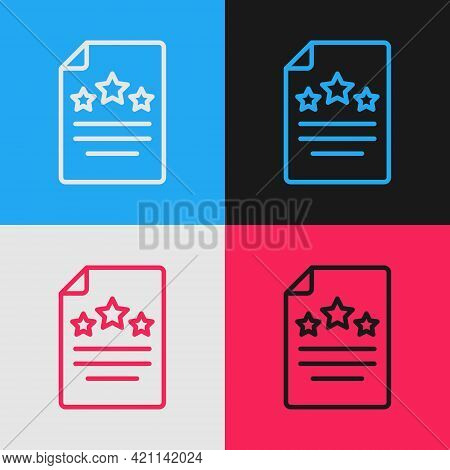 Pop Art Line Declaration Of Independence Icon Isolated On Color Background. Vector