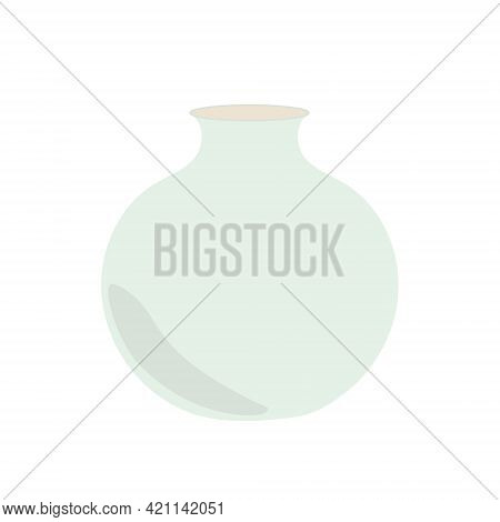 Bohemian Flower Vase In Simple Flat Style Abstract Vector Pastel Colored Isolated Illustration, Tren