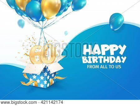 Celebrating 60th Years Birthday Vector Illustration. Sixty Anniversary Celebration. Adult Birth Day.