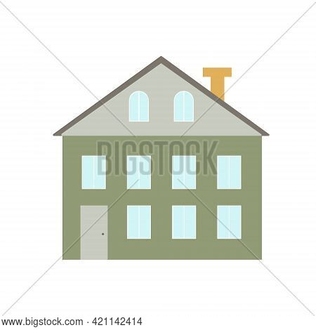 Cute Little Detached House Simple Flat Style Vector Illustration, Cozy Home Concept, Architectural D