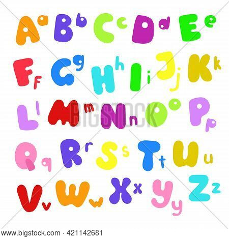 Letters Of English Alphabet Capital And Small Of Different Bright Colors, Cartoon Style Hand Drawn A