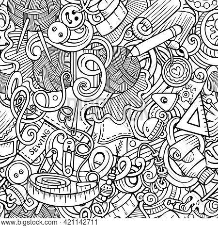 Handmade Hand Drawn Doodles Seamless Pattern.