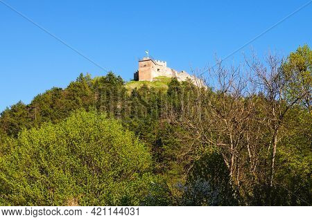 Picturesque Landscape View Of Ruins Of Ancient Kremenets Castle On The Top Of The Hill. Famous Touri