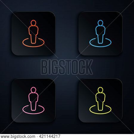Color Neon Line Map Marker With A Silhouette Of A Person Icon Isolated On Black Background. Gps Loca