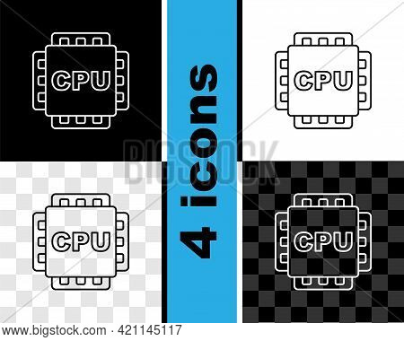Set Line Computer Processor With Microcircuits Cpu Icon Isolated On Black And White, Transparent Bac