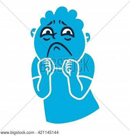 Man With Sad Emotions. Sorrow Emoji Avatar. Portrait Of An Upset Person. Cartoon Style. Flat Design