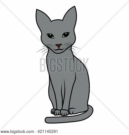 Little Funny And Cute Kitten In Grey, Vector Hand Drawing Isolated On White Background