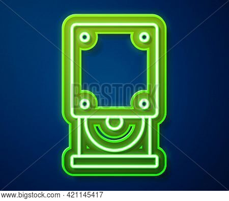 Glowing Neon Line Optical Disc Drive Icon Isolated On Blue Background. Cd Dvd Laptop Tray Drive For