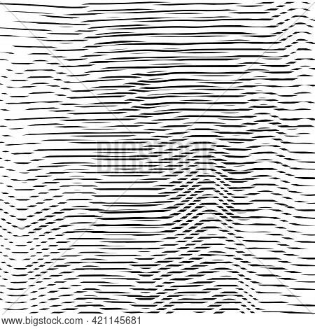 Abstract Dynamical Rippled Surface, Visual Halftone 3d Effect, Illusion Of Movement, Curvature. Vect