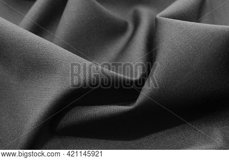 Part Of The Dark Fabric Texture Of The Fabric For The Background And Decoration Of The Work Of Art,