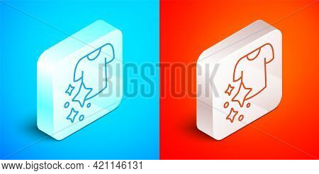 Isometric Line Drying Clothes Icon Isolated On Blue And Red Background. Clean Shirt. Wash Clothes On
