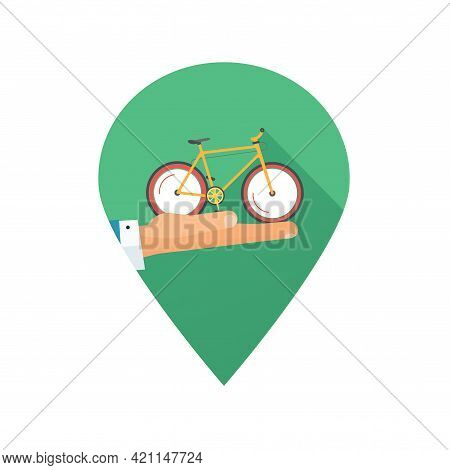 Rent A Bike Or Rental Bicycle Icon Place Pin Pointer And Hand Giving Vector Flat Cartoon Illustratio