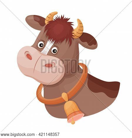 Funny Spotted Cow With Bell On Neck. Animal Head. Cute Calf Bull Face Portrait With Horn. Farm Milk.