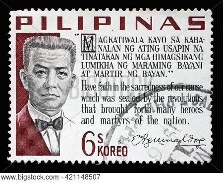 ZAGREB, CROATIA - SEPTEMBER 18, 2014: Stamp printed in Philippines shows Emilio Aguinaldo, the First President of the Philippines, 1899-1901, circa 1966