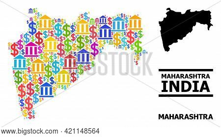Vibrant Bank And Economics Mosaic And Solid Map Of Maharashtra State. Map Of Maharashtra State Vecto