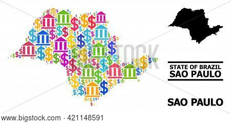 Bright Colored Banking And Business Mosaic And Solid Map Of Sao Paulo State. Map Of Sao Paulo State