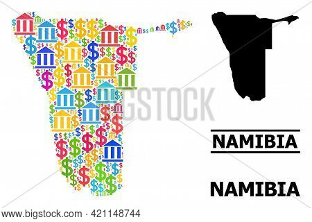 Bright Colored Bank And Commerce Mosaic And Solid Map Of Namibia. Map Of Namibia Vector Mosaic For A