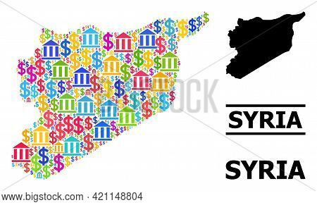 Bright Colored Bank And Commerce Mosaic And Solid Map Of Syria. Map Of Syria Vector Mosaic For Ads C