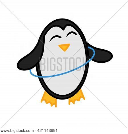 Adorable Penguin Twisting Blue Hula Hoop. The Image Of A Penguin Isolated On A White Background. Vec
