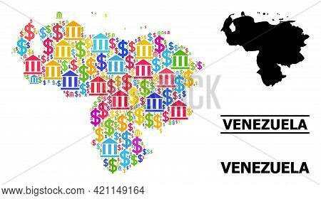 Colored Bank And Dollar Mosaic And Solid Map Of Venezuela. Map Of Venezuela Vector Mosaic For Busine