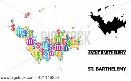Bright Colored Bank And Commercial Mosaic And Solid Map Of Saint Barthelemy. Map Of Saint Barthelemy