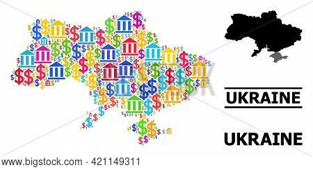 Colorful Banking And Dollar Mosaic And Solid Map Of Ukraine. Map Of Ukraine Vector Mosaic For Busine