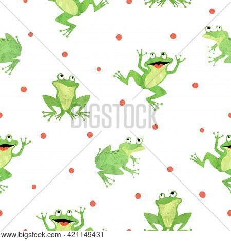 Cute Frog Pattern. Seamless Vector Background With Cartoon Green Frogs