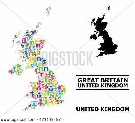 Bright Colored Financial And Dollar Mosaic And Solid Map Of United Kingdom. Map Of United Kingdom Ve