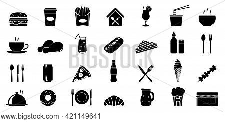 Food Courts Icons Set. Silhouette Set Of Food Courts Icons For Web Design. Vector Illustration Isola