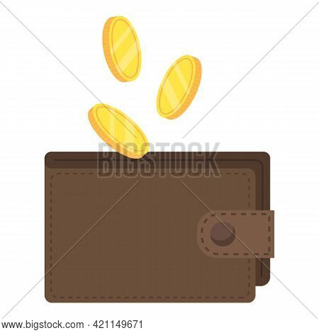 The Coins Fall Into The Wallet. Profit In The Budget. Adding Money To Your Wallet.