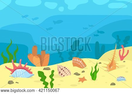 Cartoon Illustration Of Seashells And Corals In Sand. Seaweed, Silhouettes Of Fish, Underwater Life,