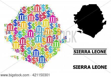 Bright Colored Financial And Economics Mosaic And Solid Map Of Sierra Leone. Map Of Sierra Leone Vec