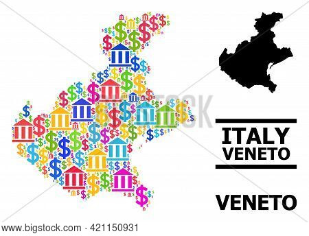 Bright Colored Finance And Money Mosaic And Solid Map Of Veneto Region. Map Of Veneto Region Vector