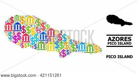 Colorful Bank And Business Mosaic And Solid Map Of Pico Island. Map Of Pico Island Vector Mosaic For