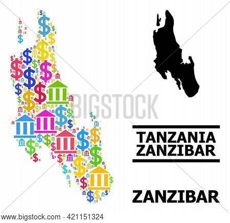 Bright Colored Bank And Economics Mosaic And Solid Map Of Zanzibar Island. Map Of Zanzibar Island Ve