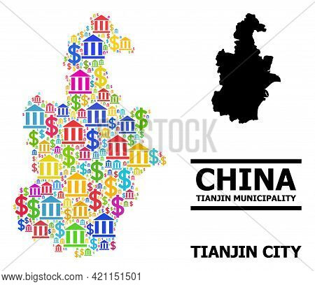 Bright Colored Bank And Money Mosaic And Solid Map Of Tianjin Municipality. Map Of Tianjin Municipal