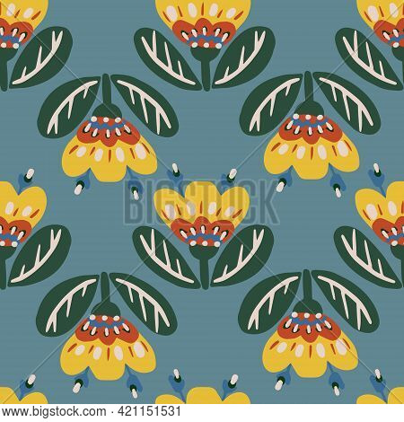 Seamless Botanical Floral Pattern Of Elements In Folk Ethnic Style. Simple Vector Design For Paper,